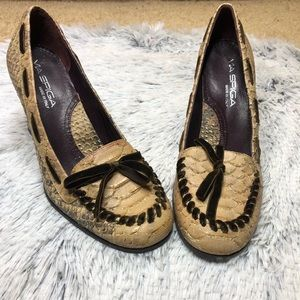 VIA SPIGA Faux Snakeskin Leather Loafer Pump Thick